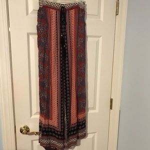 Patterned flare leg pants